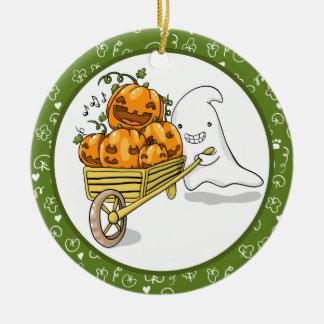 Cute ghost with wheelbarrow ornament