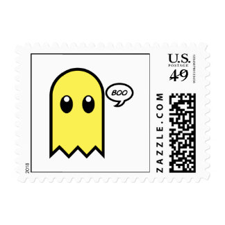 cute ghost  yellow spooky boo postage stamp