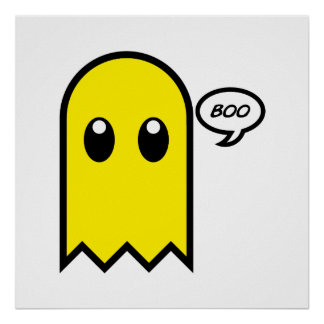 cute ghost yellow spooky boo poster