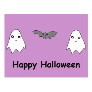 Cute Ghosts and Bat Friends Post Cards