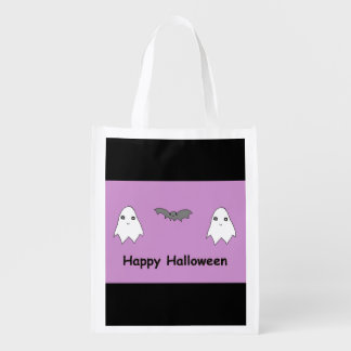 Cute Ghosts and Bat Friends Reusable Grocery Bags