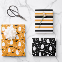 Cute Ghosts & Bats Orange Halloween Wrapping Paper Sheets