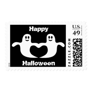 Cute Ghosts In Love Black & White Halloween Stamps