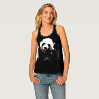 Cute Giant Panda Bear with tasty Bamboo Leaves Tank Top