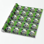 Cute Giant Panda Bear with tasty Bamboo Leaves Gift Wrap Paper