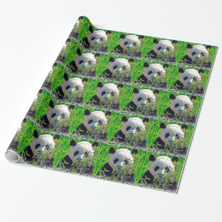 Cute Giant Panda Bear with tasty Bamboo Leaves Wrapping Paper