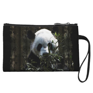 Cute Giant Panda Bear with tasty Bamboo Leaves Wristlet