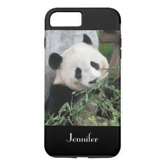 Cute Giant Panda, Black Background, Custom Name iPhone 8 Plus/7 Plus Case