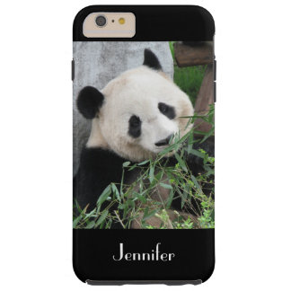 Cute Giant Panda, Black Background, Custom Name Tough iPhone 6 Plus Case