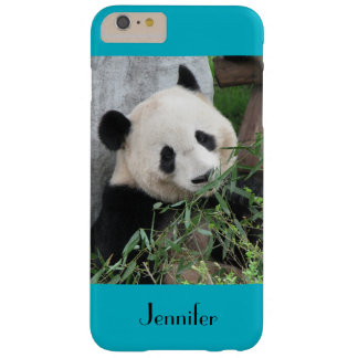 Cute Giant Panda, Blue Background, Custom Name Barely There iPhone 6 Plus Case