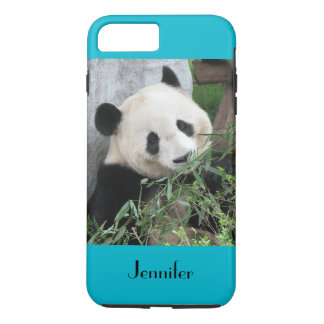 Cute Giant Panda, Blue Background, Custom Name iPhone 8 Plus/7 Plus Case