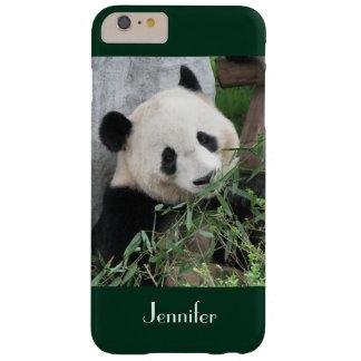 Cute Giant Panda, Dark Green Trim, Custom Name Barely There iPhone 6 Plus Case