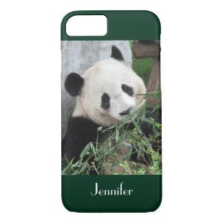 Cute Giant Panda Dark Green Trim, Custom Name iPhone 8/7 Case