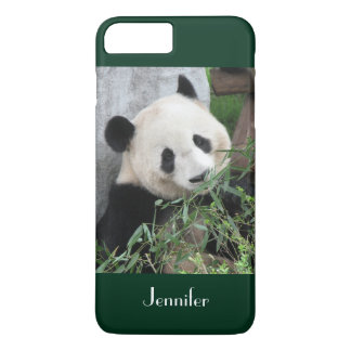 Cute Giant Panda, Dark Green Trim, Custom Name iPhone 8 Plus/7 Plus Case