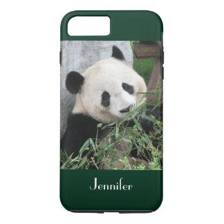 Cute Giant Panda Dark Green Trim Personalized Name iPhone 7 Plus Case