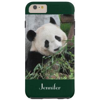Cute Giant Panda Dark Green Trim Personalized Name Tough iPhone 6 Plus Case