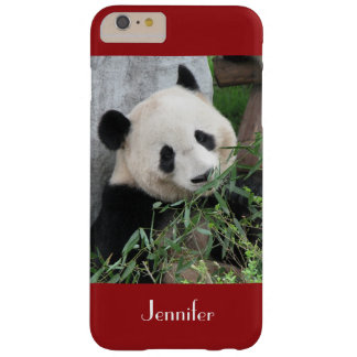 Cute Giant Panda, Dark Red, Custom with Name Barely There iPhone 6 Plus Case