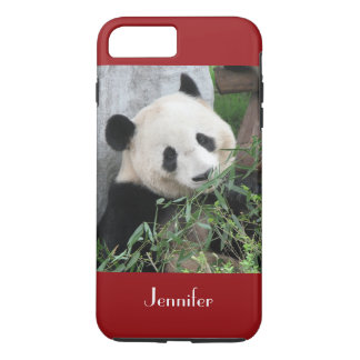 Cute Giant Panda, Dark Red, Custom with Name iPhone 7 Plus Case