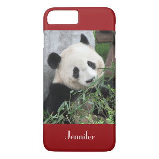 Cute Giant Panda, Dark Red, Custom with Name iPhone 8 Plus/7 Plus Case