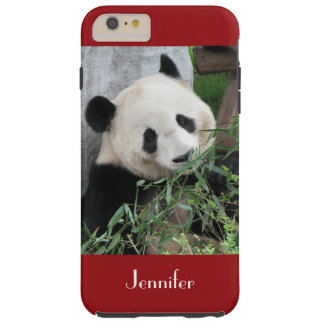 Cute Giant Panda, Dark Red, Custom with Name Tough iPhone 6 Plus Case