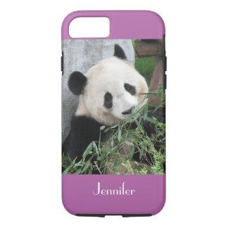 Cute Giant Panda Pale Purple Trim, Custom Name iPhone 8/7 Case