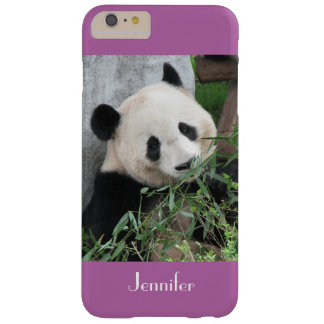 Cute Giant Panda Radiant Orchid Purple Custom Name Barely There iPhone 6 Plus Case