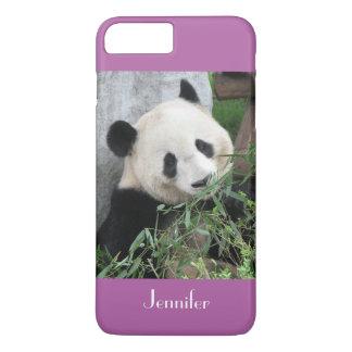 Cute Giant Panda Radiant Orchid Purple Custom Name iPhone 8 Plus/7 Plus Case