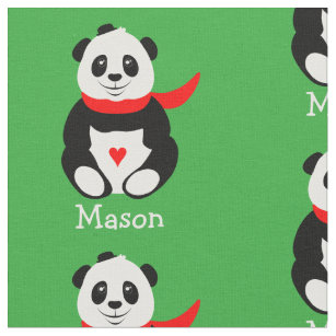 Cute Giant Pandas with Bowler Hats and Red Scarves Fabric 2fe7e010f4f