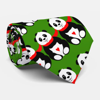 Cute Giant Pandas with Bowler Hats and Red Scarves Neck Tie