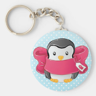 Cute gifted penguin basic round button keychain
