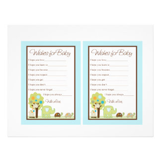 """Cute Giggle Gang/Animals """"Wishes for Baby"""" notes Flyer"""