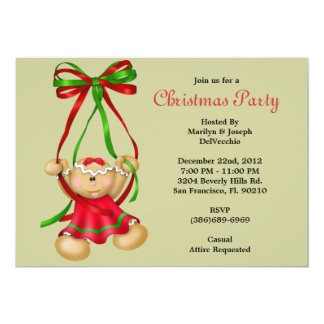 CUTE Ginger Bread Cookie Falling Xmas Invite