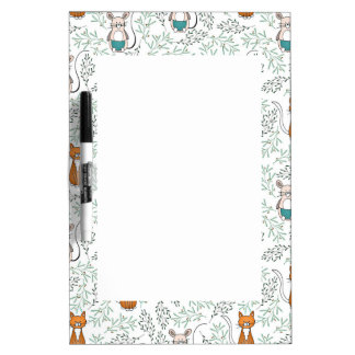 Cute Ginger Cat and Mouse Pattern Dry Erase Board