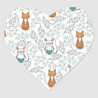Cute Ginger Cat and Mouse Pattern Heart Sticker