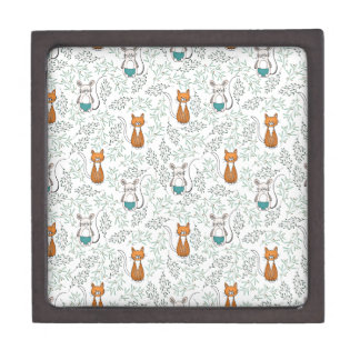 Cute Ginger Cat and Mouse Pattern Keepsake Box