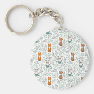 Cute Ginger Cat and Mouse Pattern Keychain