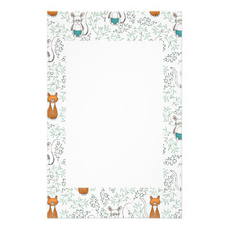 Cute Ginger Cat and Mouse Pattern Stationery