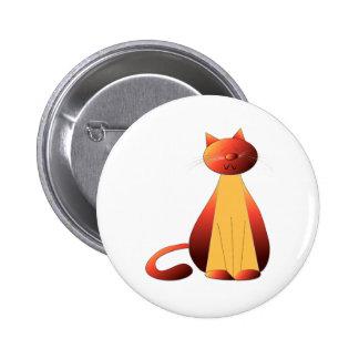 Cute Ginger Cat Art Pinback Buttons