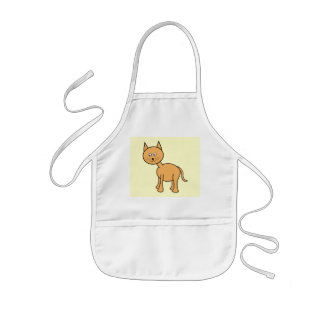 Cute Ginger Cat Cartoon. Cream Background. Kids' Apron