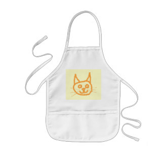 Cute ginger cat cartoon, on cream. kids' apron