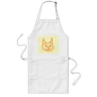 Cute ginger cat cartoon, on cream. long apron