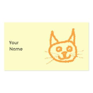 Cute ginger cat cartoon, on cream. business card