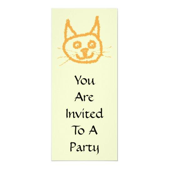 Cute ginger cat cartoon, on cream. card