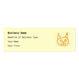 Cute ginger cat cartoon, on cream. mini business card
