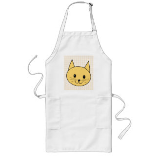 Cute Ginger Cat. Check background. Long Apron