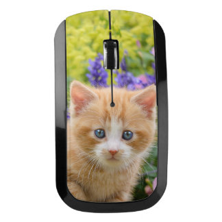 Cute Ginger Cat Kitten in Flowery Garden Portrait Wireless Mouse