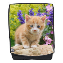 Cute Ginger Cat Kitten in Flowery Garden  Rucksack Backpack