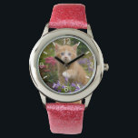 """Cute Ginger Cat Kitten in Garden  girls dial-plate Watch<br><div class=""""desc"""">A lovely and enchanting kitten playing with flowers in a garden. A cute charming baby cat with wonderful blue eyes, photo taken by Katho Menden. This girls wrist watch with dial-plate is a gift idea for cat and pet lovers. http://www.zazzle.com/kathom_photo If you are seeing a design that is not available...</div>"""
