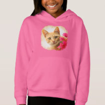 Cute Ginger Cat Kitten Watching Photo - pink girly Hoodie