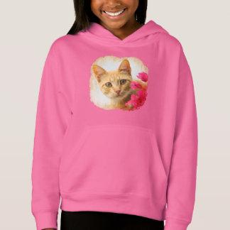 Cute Ginger Cat Kitten Watching Photo - pink girly Hoodie